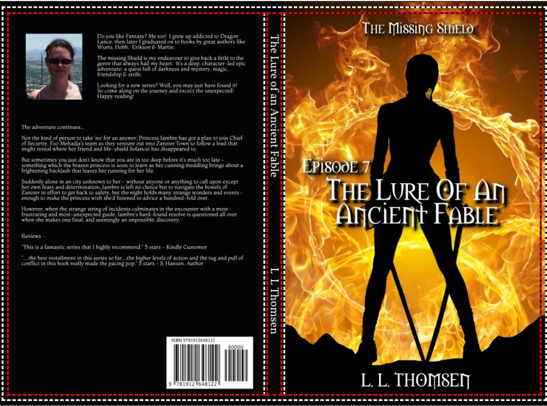 Book cover of Fantasy books #& of The Missing Shield. Woman with swords seen in silhuette against flames. Back cover with blurb and author photo of LL Thomsen.